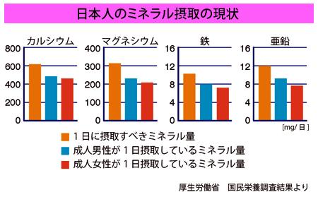 日本人のミネラル摂取の現状